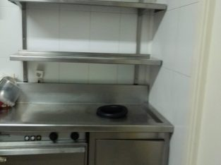 Mueble de acero para fregadero con encimera y estantes cocina industrial