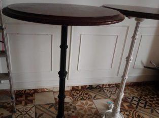 Lote de mesas altas hostelería madera + pie de forja