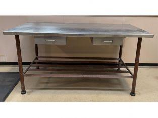 Mesa superficie INOX y patas de hierro + 2 cajones 191 X 890.5 X 85